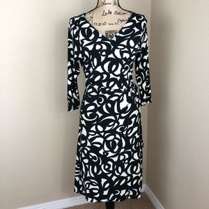 London Times Black Cream Wrap Jersey Dress 14